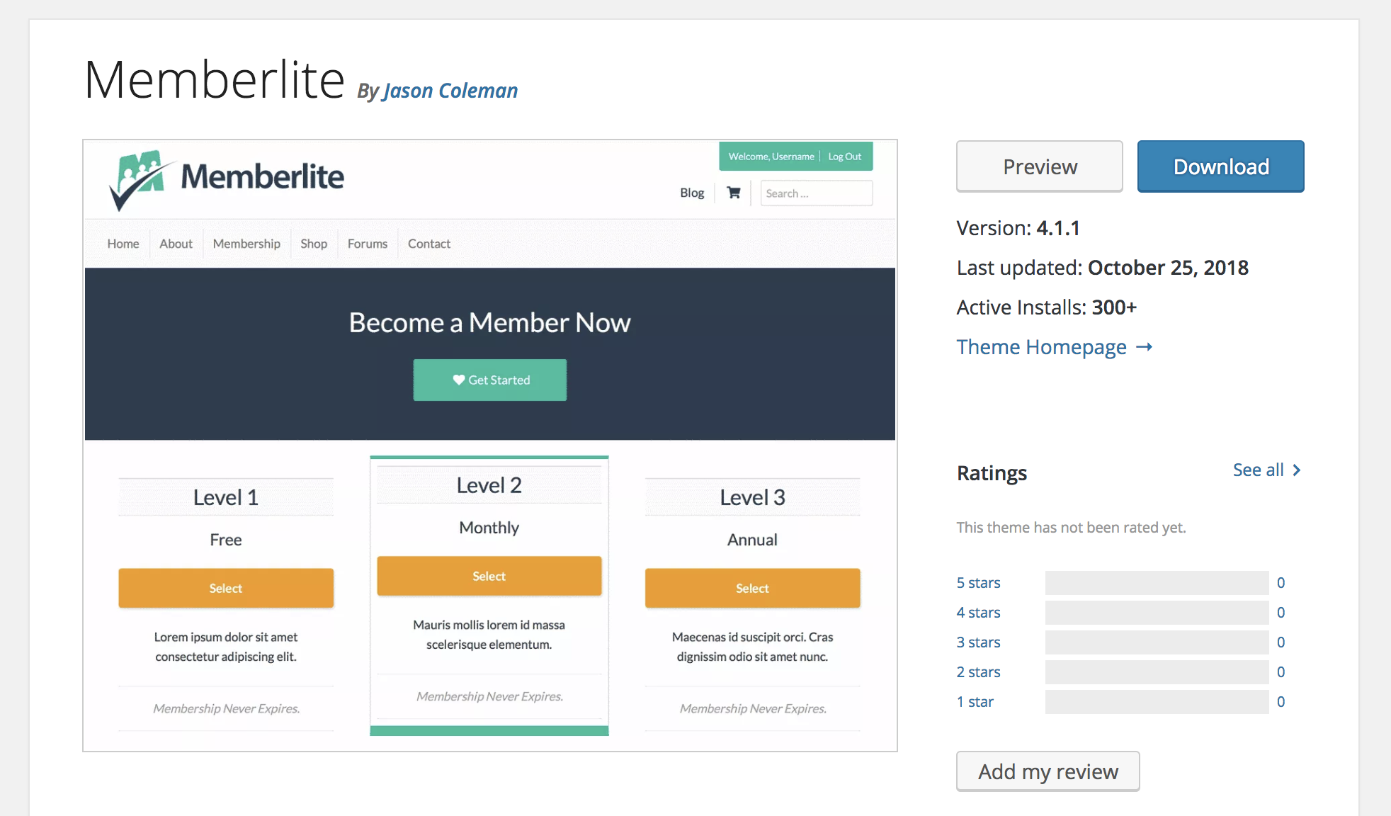 Memberlite Theme in Customizer